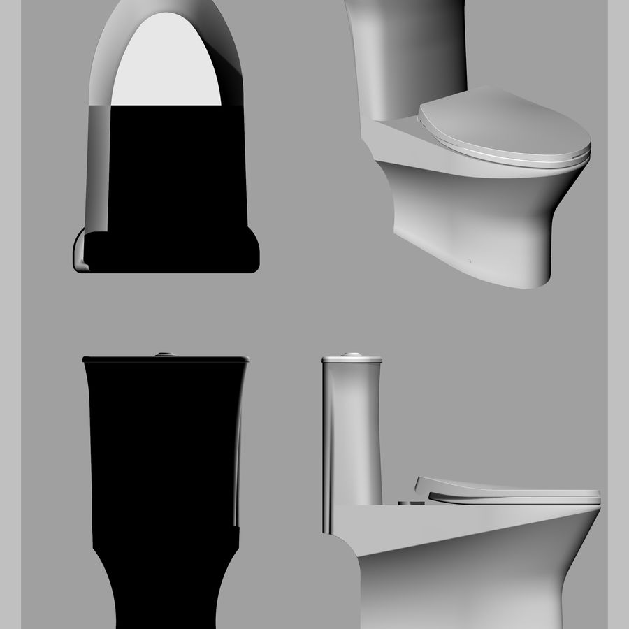toilet(65) royalty-free 3d model - Preview no. 5