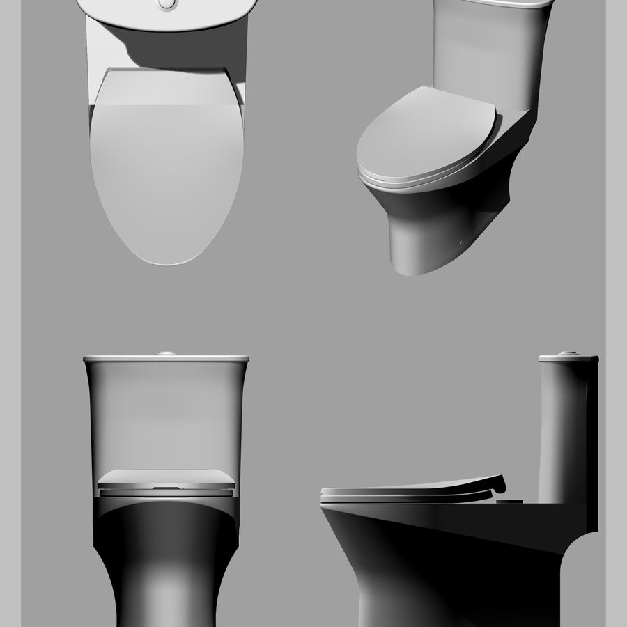toilet(65) royalty-free 3d model - Preview no. 3