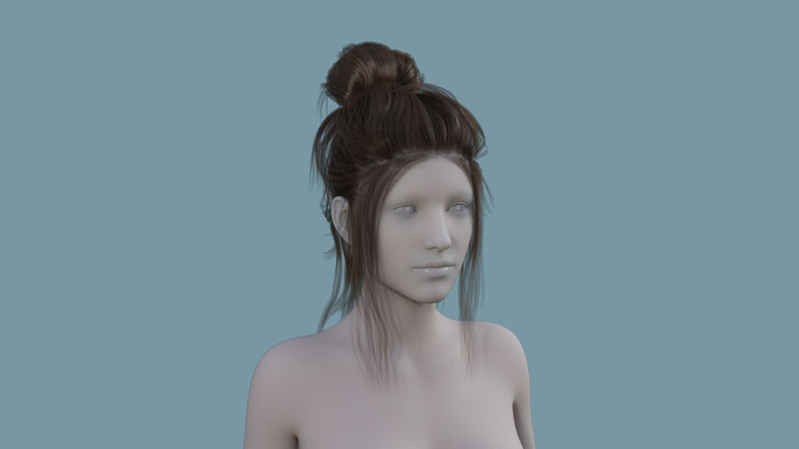 Realistic Female Polygon Hair 14 royalty-free 3d model - Preview no. 1