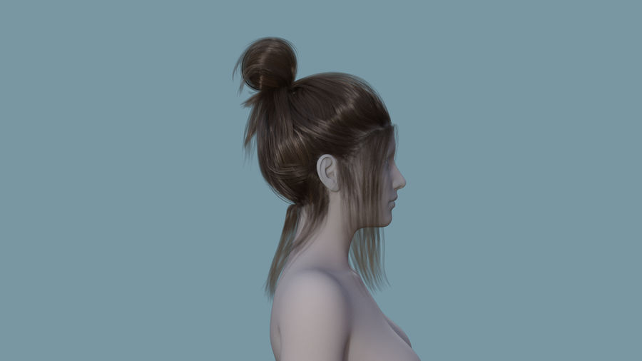 Realistic Female Polygon Hair 14 royalty-free 3d model - Preview no. 5
