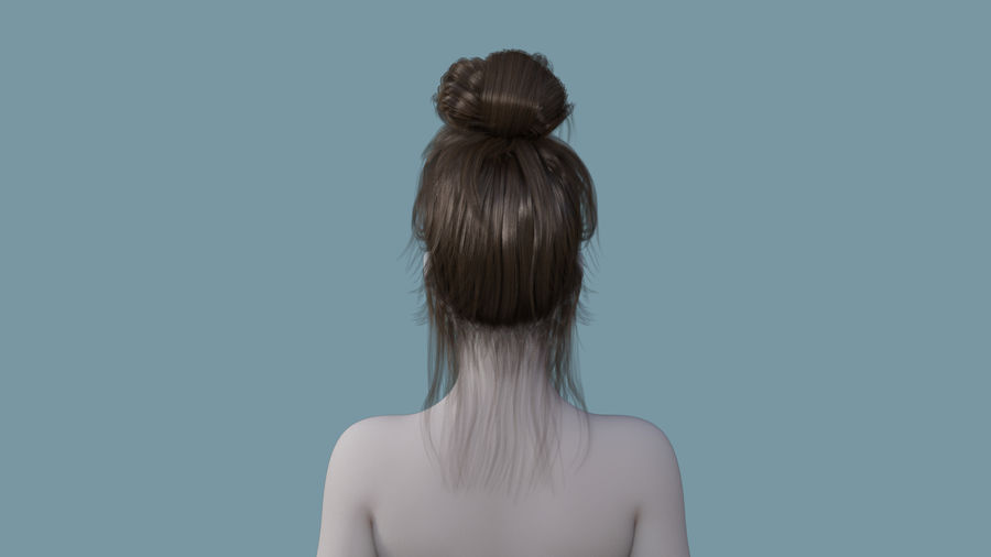 Realistic Female Polygon Hair 14 royalty-free 3d model - Preview no. 4