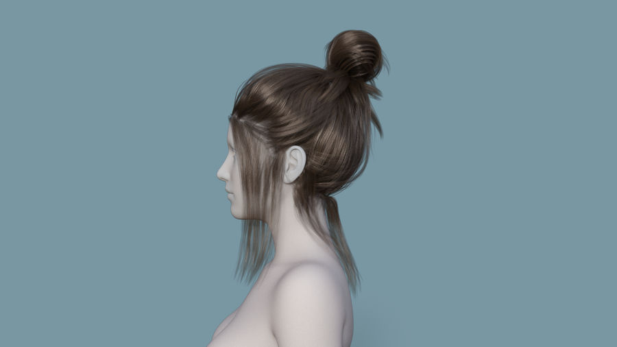 Realistic Female Polygon Hair 14 royalty-free 3d model - Preview no. 3