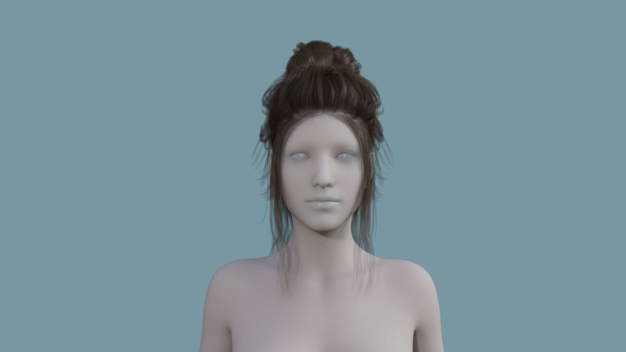 Realistic Female Polygon Hair 14 royalty-free 3d model - Preview no. 2