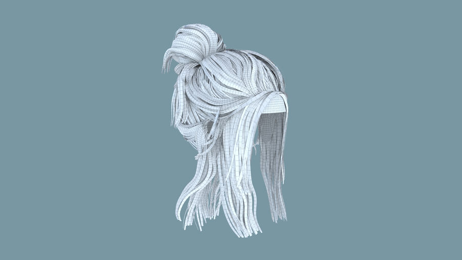 Realistic Female Polygon Hair 14 royalty-free 3d model - Preview no. 6