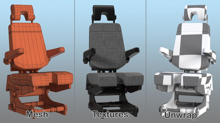 Pilot Seat royalty-free 3d model - Preview no. 13