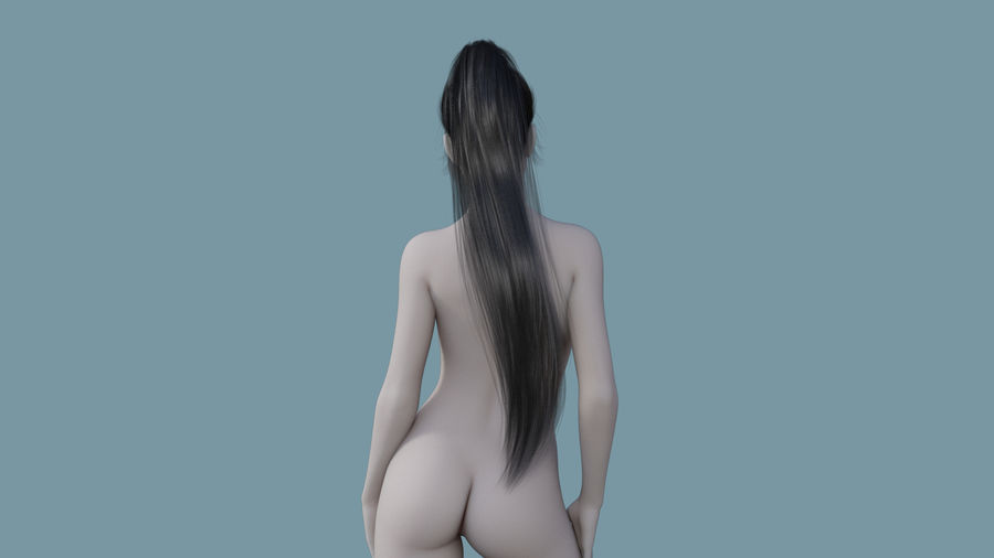 Realistic Female Polygon Long Hair 16 royalty-free 3d model - Preview no. 4