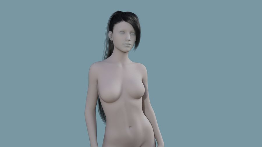 Realistic Female Polygon Long Hair 16 royalty-free 3d model - Preview no. 1