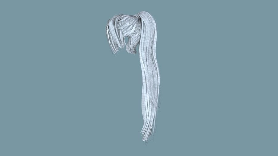Realistic Female Polygon Long Hair 16 royalty-free 3d model - Preview no. 7