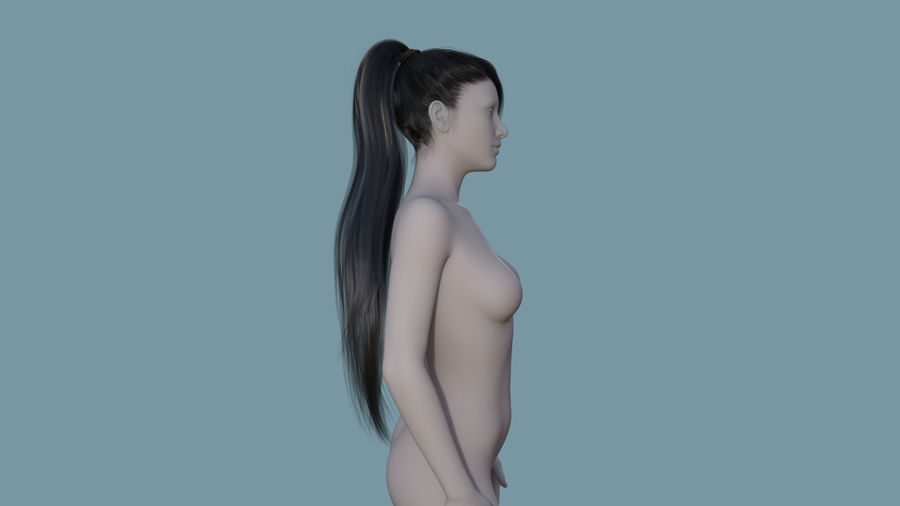 Realistic Female Polygon Long Hair 16 royalty-free 3d model - Preview no. 5