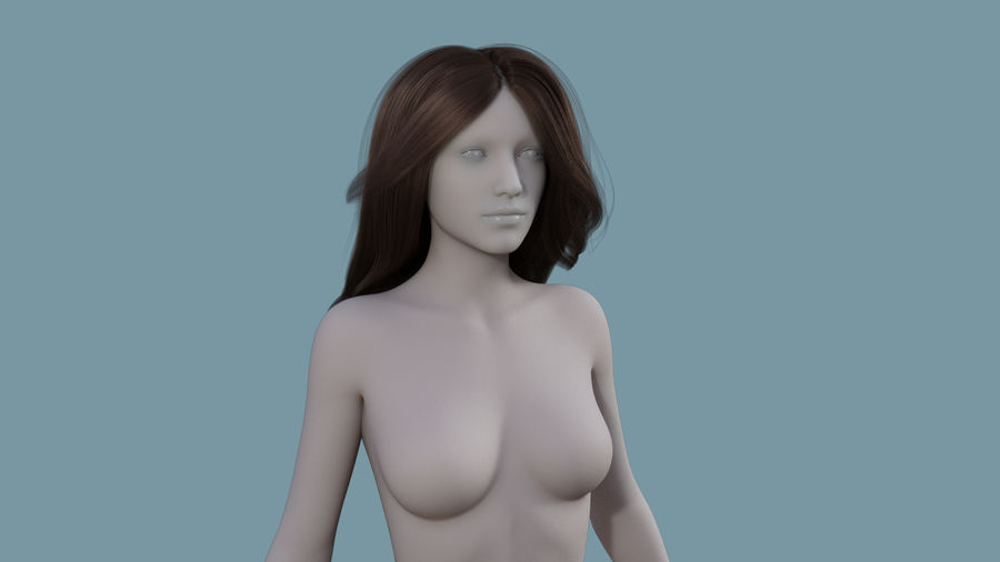 Realistic Female Polygon Long Hair 18 royalty-free 3d model - Preview no. 1