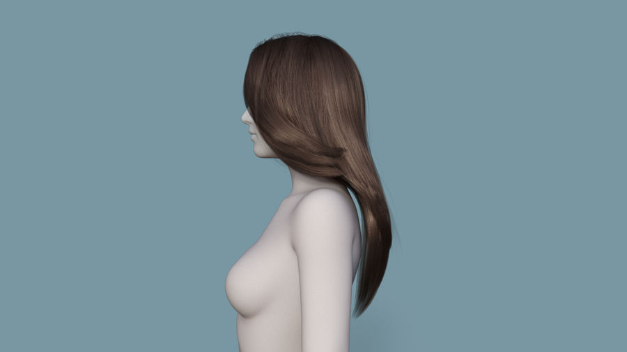 Realistic Female Polygon Long Hair 18 royalty-free 3d model - Preview no. 3