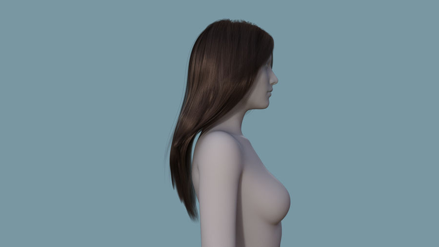 Realistic Female Polygon Long Hair 18 royalty-free 3d model - Preview no. 5