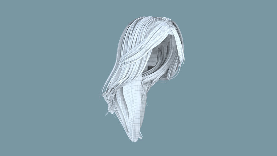 Realistic Female Polygon Long Hair 18 royalty-free 3d model - Preview no. 6