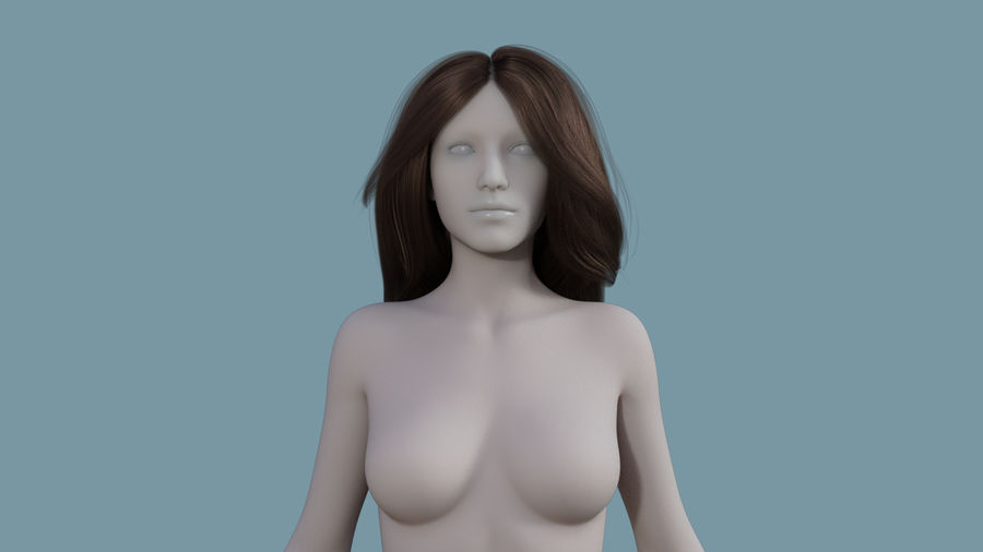 Realistic Female Polygon Long Hair 18 royalty-free 3d model - Preview no. 2