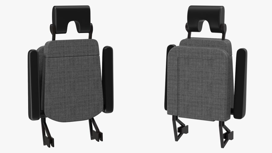 Stewardess Folded Seat royalty-free 3d model - Preview no. 4