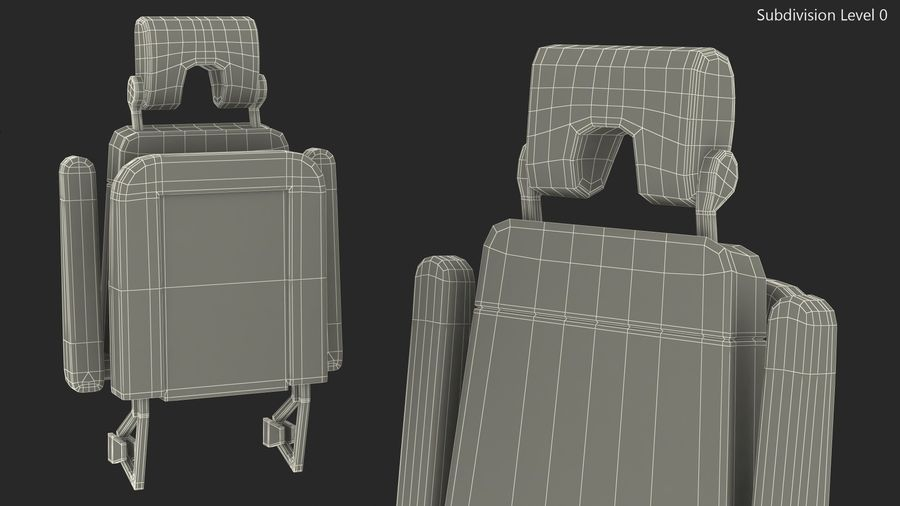 Stewardess Folded Seat royalty-free 3d model - Preview no. 11