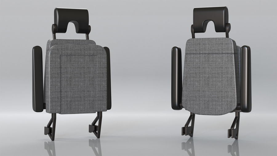 Stewardess Folded Seat royalty-free 3d model - Preview no. 2