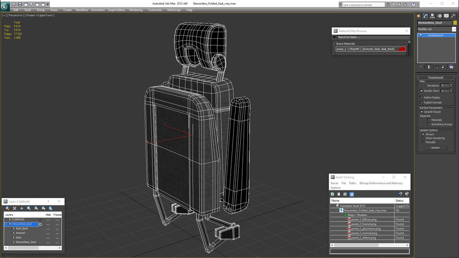 Stewardess Folded Seat royalty-free 3d model - Preview no. 17