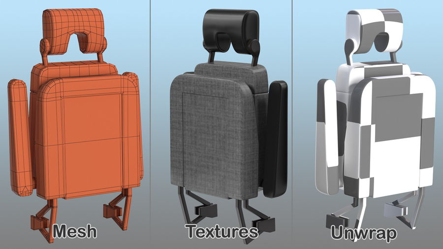 Stewardess Folded Seat royalty-free 3d model - Preview no. 10