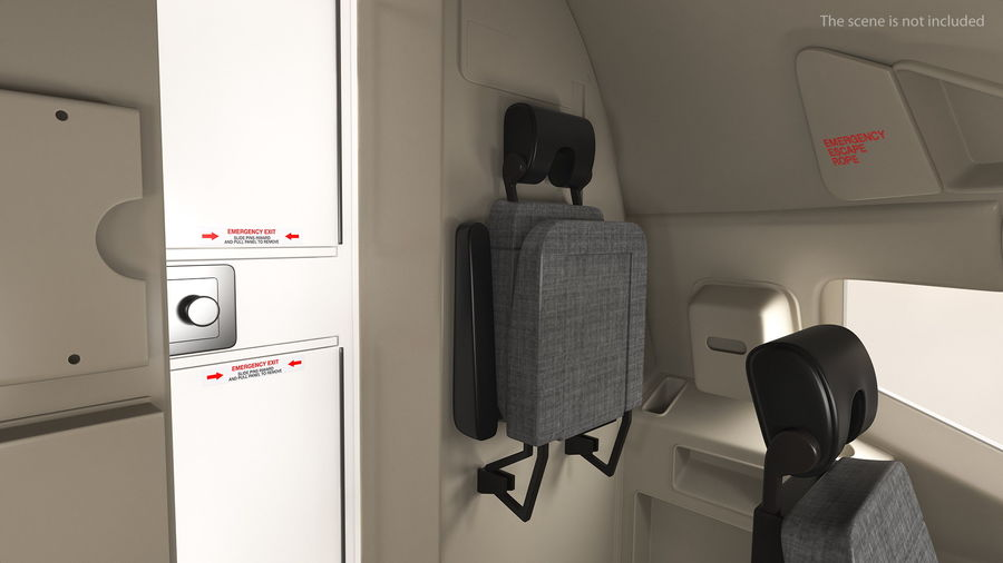 Stewardess Folded Seat royalty-free 3d model - Preview no. 3