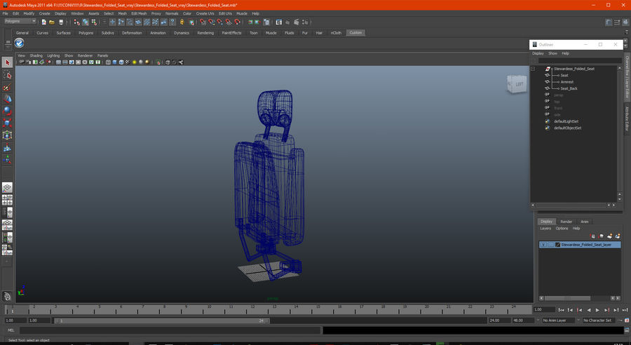 Stewardess Folded Seat royalty-free 3d model - Preview no. 15