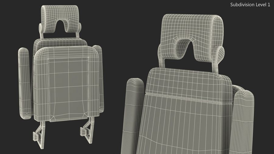 Stewardess Folded Seat royalty-free 3d model - Preview no. 12