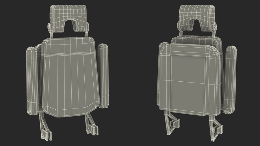 Stewardess Folded Seat royalty-free 3d model - Preview no. 18