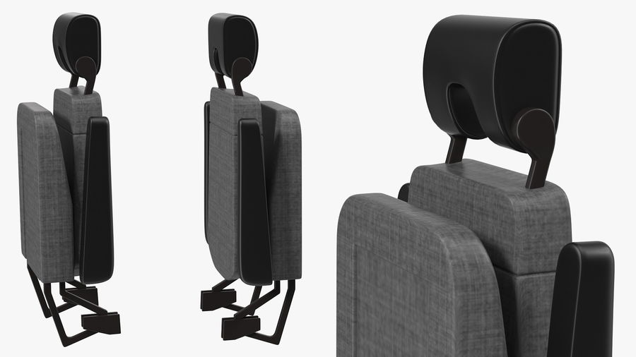 Stewardess Folded Seat royalty-free 3d model - Preview no. 5
