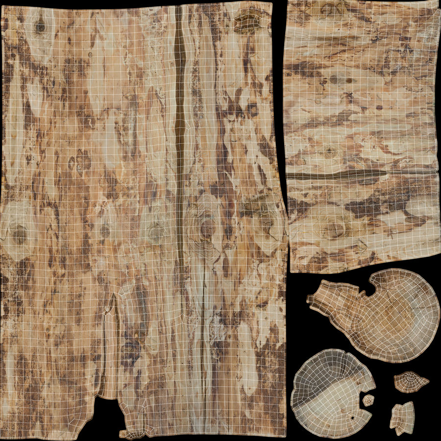 Debarked Pine Log royalty-free 3d model - Preview no. 19