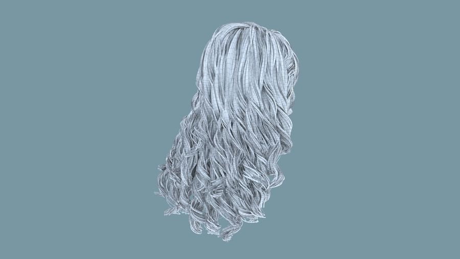 Realistic Female Polygon Long Hair 19 royalty-free 3d model - Preview no. 8
