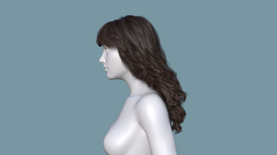 Realistic Female Polygon Long Hair 19 royalty-free 3d model - Preview no. 3