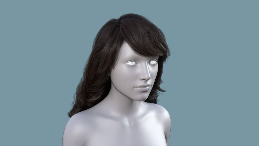 Realistic Female Polygon Long Hair 19 royalty-free 3d model - Preview no. 1