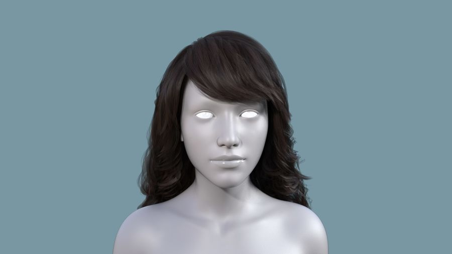 Realistic Female Polygon Long Hair 19 royalty-free 3d model - Preview no. 2