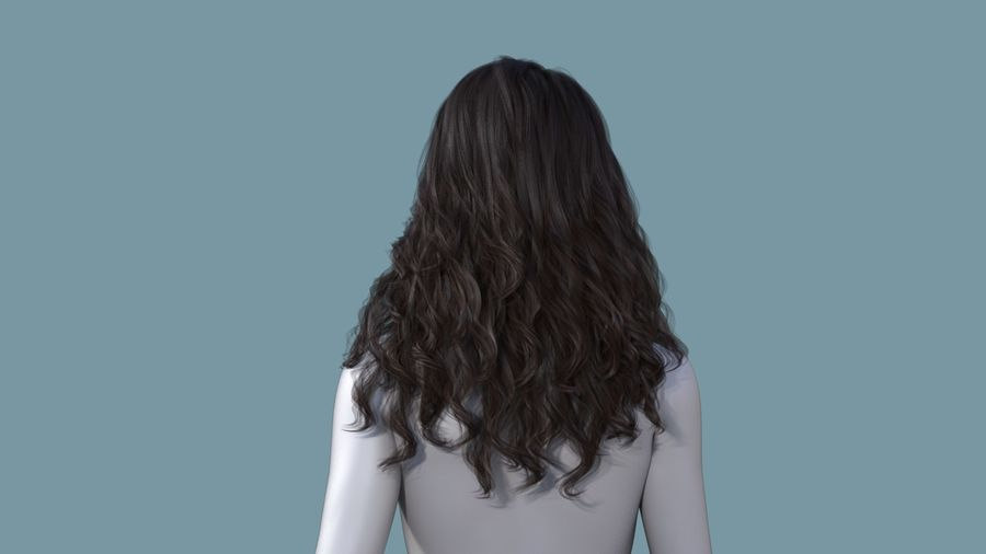 Realistic Female Polygon Long Hair 19 royalty-free 3d model - Preview no. 4