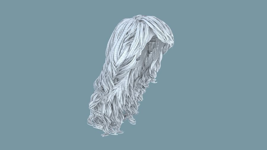 Realistic Female Polygon Long Hair 19 royalty-free 3d model - Preview no. 6
