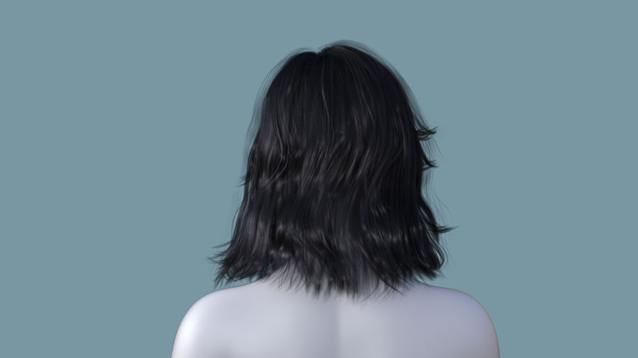 Realistic Female Polygon Long Hair 23 royalty-free 3d model - Preview no. 4
