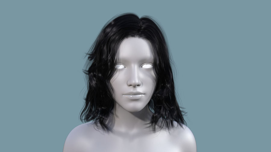 Realistic Female Polygon Long Hair 23 royalty-free 3d model - Preview no. 2