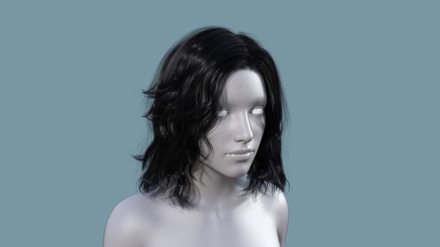 Realistic Female Polygon Long Hair 23 royalty-free 3d model - Preview no. 1