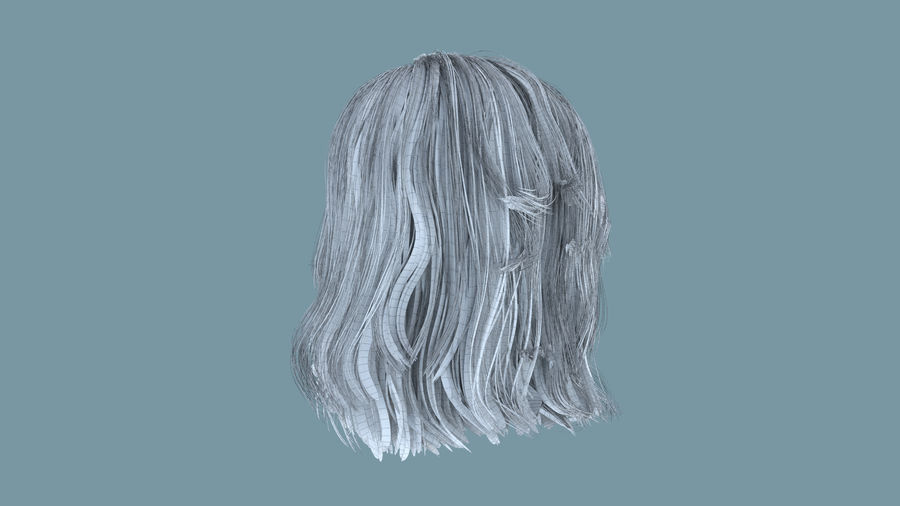 Realistic Female Polygon Long Hair 23 royalty-free 3d model - Preview no. 8