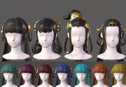 The girl hair Restoring ancient ways ponytail Long hair braid Low-poly 3d model