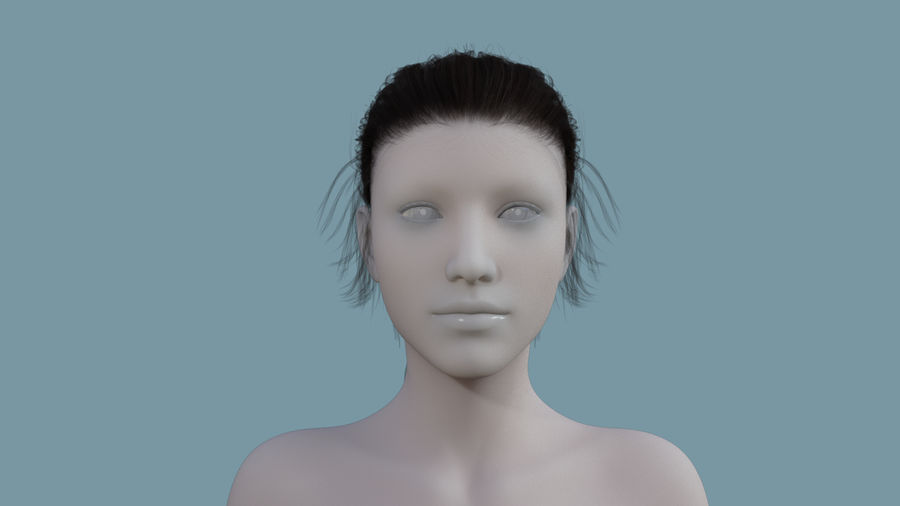 Realistic Female Polygon Long Hair 24 royalty-free 3d model - Preview no. 2