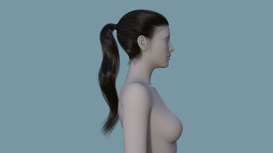 Realistic Female Polygon Long Hair 24 royalty-free 3d model - Preview no. 5