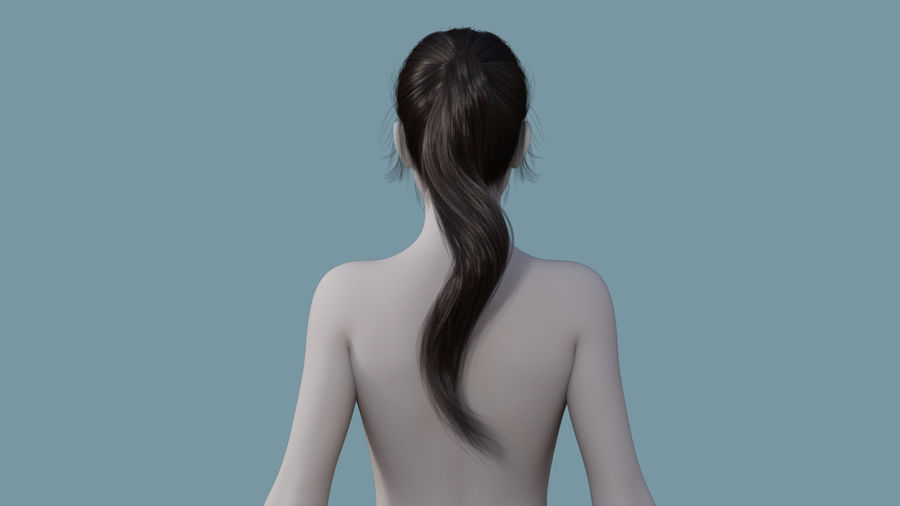 Realistic Female Polygon Long Hair 24 royalty-free 3d model - Preview no. 4