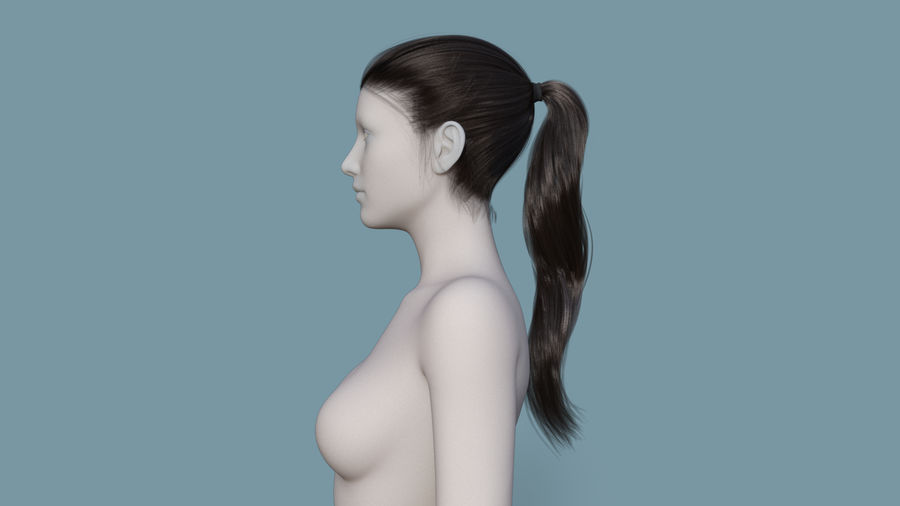 Realistic Female Polygon Long Hair 24 royalty-free 3d model - Preview no. 3