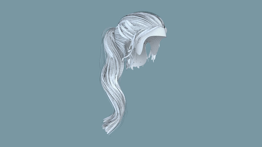 Realistic Female Polygon Long Hair 24 royalty-free 3d model - Preview no. 6