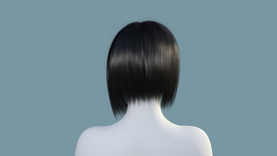 Realistic Female Polygon Hair 25 royalty-free 3d model - Preview no. 4