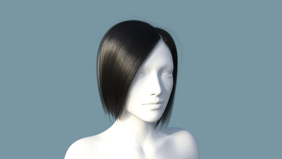 Realistic Female Polygon Hair 25 royalty-free 3d model - Preview no. 1