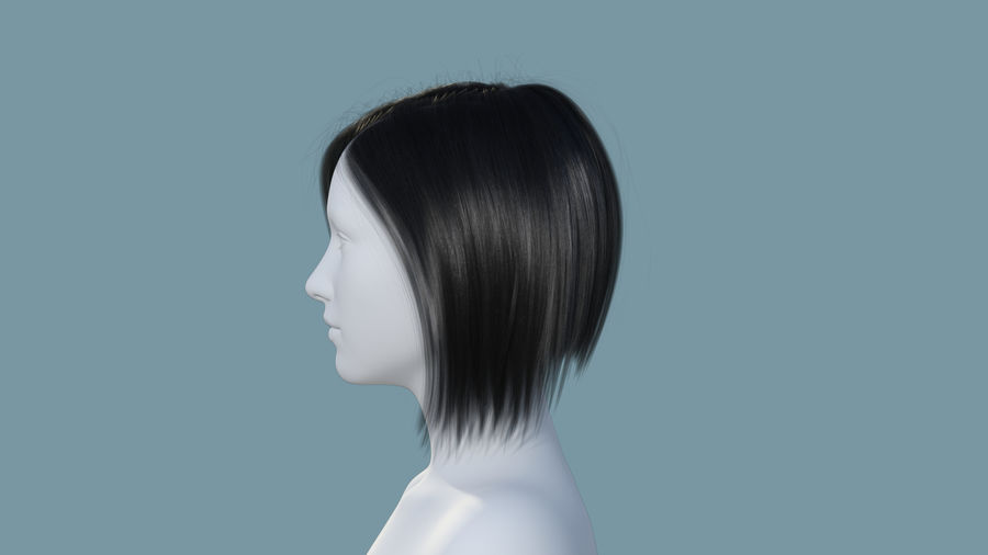 Realistic Female Polygon Hair 25 royalty-free 3d model - Preview no. 3