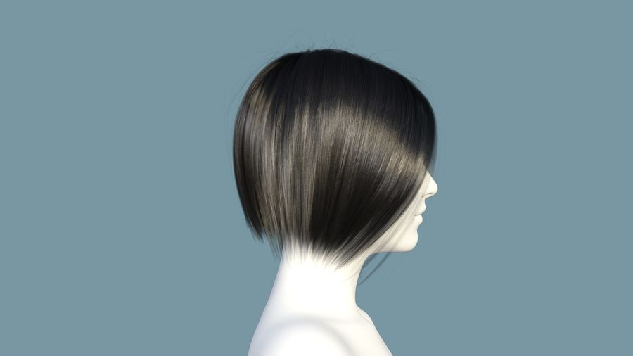 Realistic Female Polygon Hair 25 royalty-free 3d model - Preview no. 5