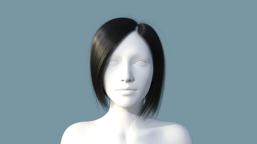 Realistic Female Polygon Hair 25 royalty-free 3d model - Preview no. 2